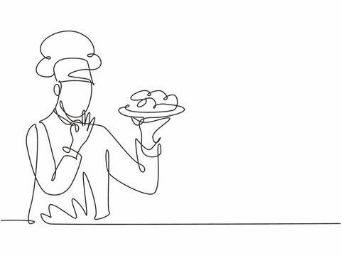 Single one line drawing young happy handsome male chef give tasting good gesture while serving main dish at restaurant. Delicious food taste trendy one line hand drawn vector illustration minimalism