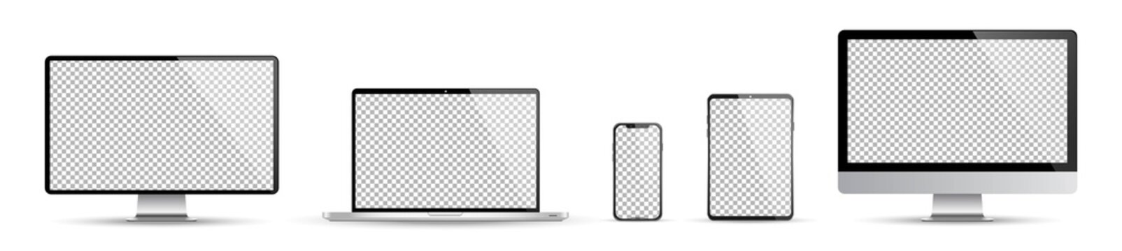Realistic set of device screen mockup, smartphone, tablet, laptop and monoblock monitor, with isolated screen for you design