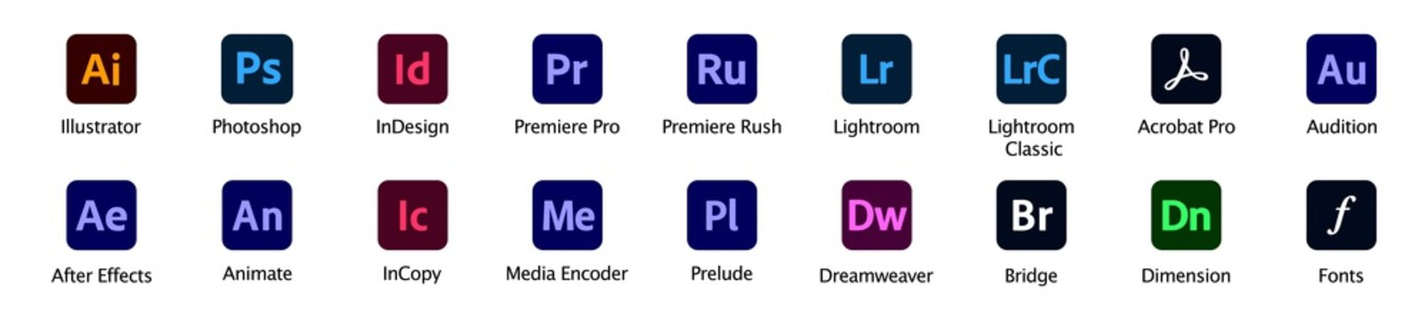 Adobe Products icons Illustrator, Photoshop, InDesign, Premiere Pro, After Effects, Acrobat DC, Lightroom, Dreamweaver