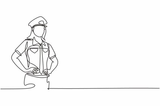 Continuous one line drawing of young beauty female police on uniform standing with hands on hip. Professional job profession minimalist concept. Single line draw design vector graphic illustration