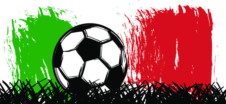Flat vector black grunge soccer ball with the flag of Italy. Grungy football. 2020, 2021 Cartoon sport EK, WK pictogram. Euro sports game cup.