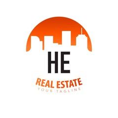 Fototapeta Initial Letter HE Real Estate Creative Logo Design Template. Real estate template logo obraz