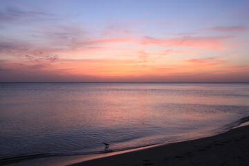 Paysage du crépuscule sur la plage de Venice en Floride avec de belles couleurs pastel du ciel et...