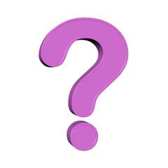 Obraz Violettes Fragezeichen vor weißem Hintergrund, 3D-Illustration - fototapety do salonu