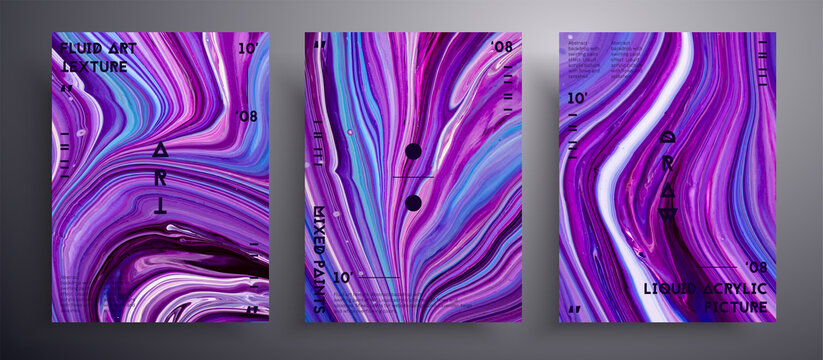 Abstract acrylic banner, fluid art vector texture collection. Trendy background that applicable for design cover, invitation, flyer and etc. Purple, blue and white unusual creative surface template.
