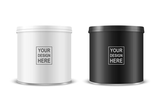 Vector 3d Realistic Blank White, Black Metal Tin Can, Canned Food, Potato Chips Packaging With Lid Set Isolated On White Background. Small Size. Design Template, Mockup. Front View