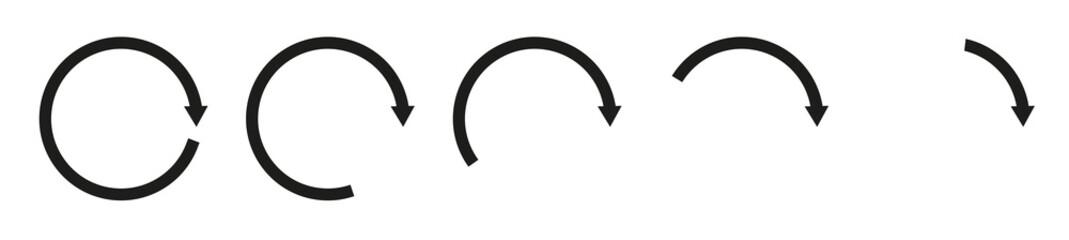 Set of circle rotation arrows