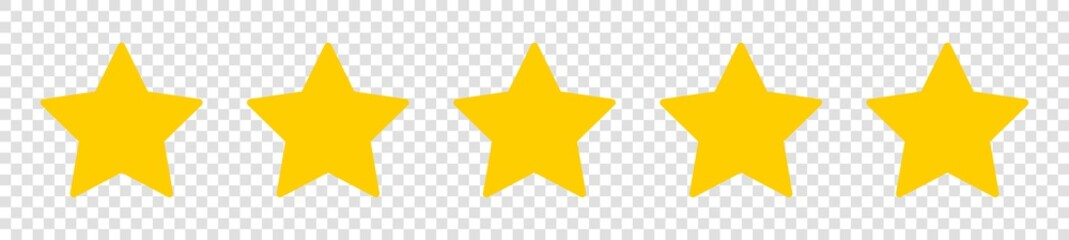 Set of five yellow star on isolated background - fototapety na wymiar