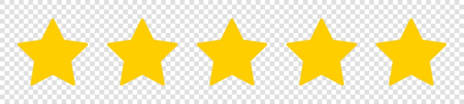 Set of five yellow star on isolated background