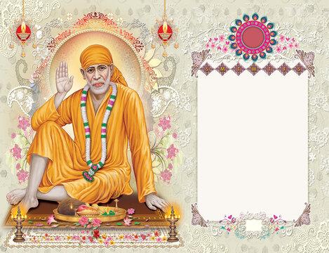 Sai Baba High Resolution Digital Painting.