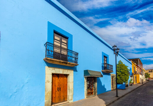 Oaxaca, Mexico, Scenic old city streets and colorful colonial buildings in historic city center.