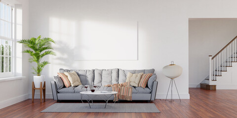 Fototapeta Large living room loft, bright, sunny interior. Big mockup canvas over sofa. 3D render. 3D illustration. obraz