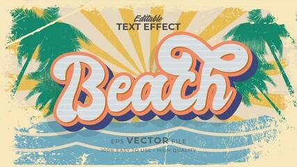 Fototapeta Editable text style effect - retro summer beach text in grunge style theme obraz