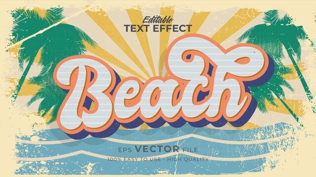 Editable text style effect - retro summer beach text in grunge style theme