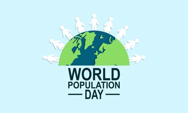 Flat world population day illustration