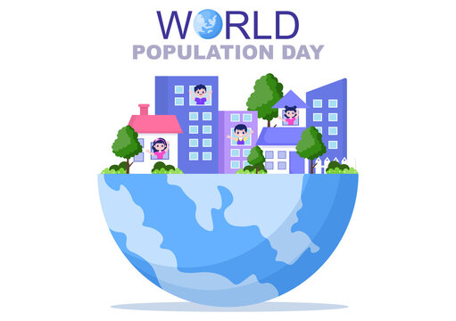 World Population Day Vector Illustration Commemorated Every 11th July To Raise Awareness Of Global Populations Problems. Landing Page Template