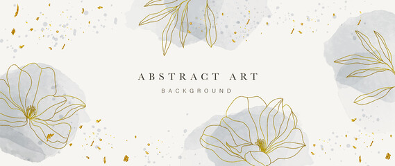 Obraz Abstract art background vector. Luxury minimal style wallpaper with golden line art flower and botanical leaves, Organic shapes, Watercolor. Vector background for banner, poster, Web and packaging. - fototapety do salonu