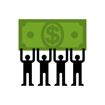 Small people carry big money. vector illustration