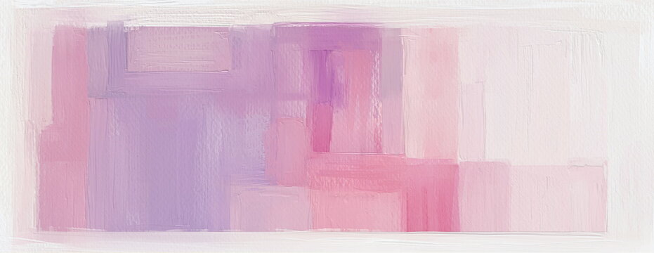 Calm hand painted art background. 10K wide acrylic on paper abstract painting, light panoramic wall art with brush strokes texture. Pink, purple pastel palette colors