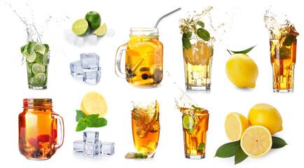 Obraz Collage of tasty iced tea on white background - fototapety do salonu