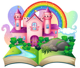 Obraz 3D pop up book with castle fairy tale theme - fototapety do salonu
