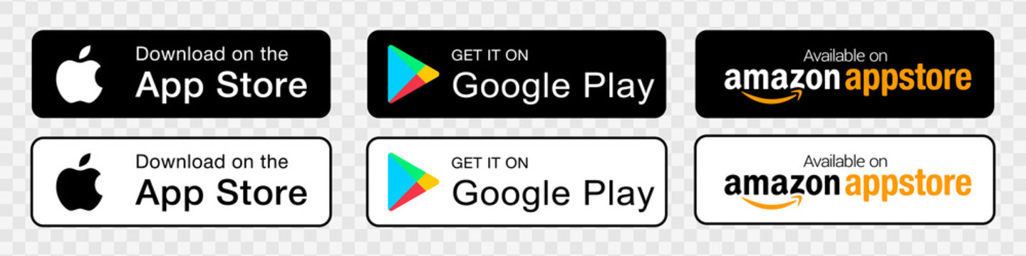 Apple App Store, Google Play Store, Amazon Store: app download buttons on a transparent background. Download buttons for your website or app design. Stock vector EPS 10