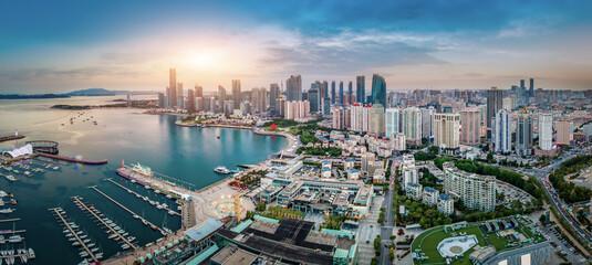 Aerial photography of architectural landscape skyline along Qingdao urban coastline - fototapety na wymiar