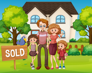 Outdoor scene with family standing in front of a house for sale