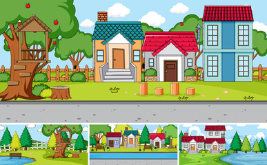 Set of different outdoor house scenes