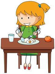 A girl having breakfast doodle cartoon character isolated