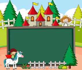 Empty chalkboard banner in the forest scene with fairy tale cartoon character and elements