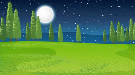 Blank meadow landscape scene at night time