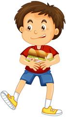 Happy boy cartoon character hugging food sandwich