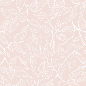Seamless tender  pattern with leaves. Design for fabric, textile, wallpaper and packaging