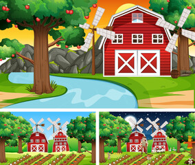 Different farm scenes with farm animals cartoon character