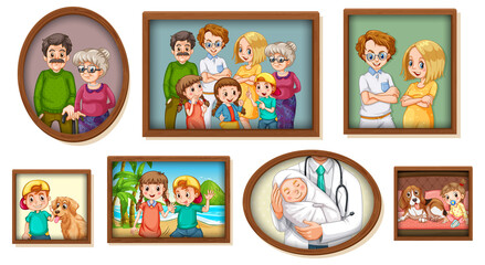 Set of happy family photo on the wooden frame