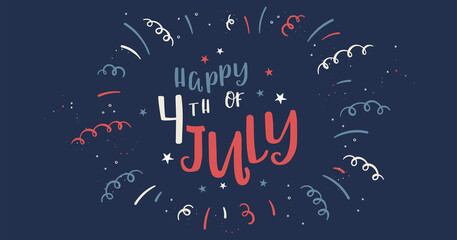 Fototapeta Cute hand drawn design, 4th of July banner with confetti and decoration, doodle elements, great for banners, wallpapers, invitations - vector design obraz