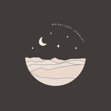 Moon night, hills, desert landscape illustration. Bohemian logo template
