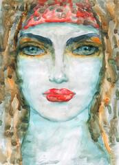 watercolor painting. female portrait. illustration.
