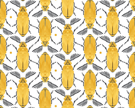 Seamless pattern with detailed illustrations of feather-horn beetle insects on a white background, in vertical repeat.