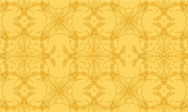 Seamless pattern with detailed illustrations of feather-horn beetle insects on a light yellow background in a mosaic repeat.