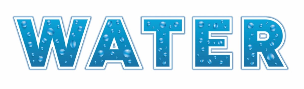 Banner with text Water, design with vector bubbles. Vector illustration. EPS10.