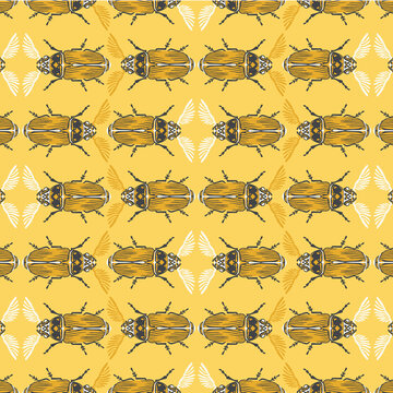 Seamless pattern with detailed illustrations of feather-horn beetle insects on a yellow background in horizontal repeat.