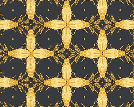 Seamless pattern with detailed illustrations of feather-horn beetle insects on a black background in mosaic repeat.