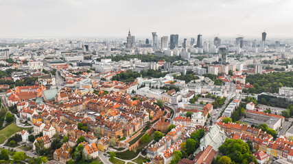 Fototapeta Aerial view of Warsaw. Old town and new modern buildings obraz