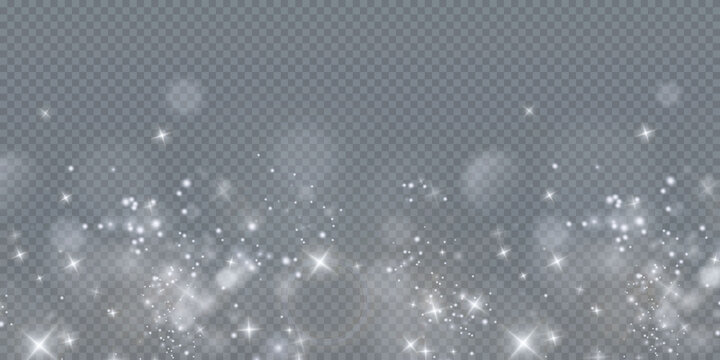 Bokeh light lights effect background. Christmas background of shining dust Christmas glowing golden bokeh confetti and spark overlay texture for your design.
