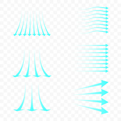 Fototapeta Set of blue arrow showing air flow. Blue stream of cold air from the conditioner. Clean fresh air flow. Wind direction. Isolated on transparent background. obraz