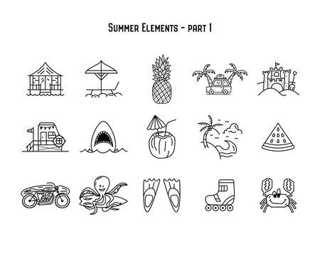 Vector design of various summer symbols