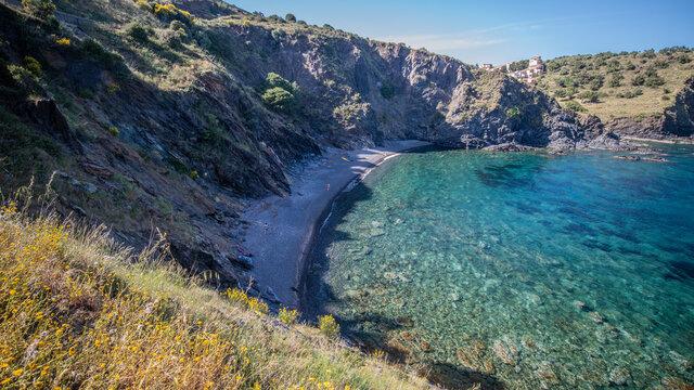 crique sur la Cote Vermeille en Roussillon , cove on the Vermeille coast in Roussillon