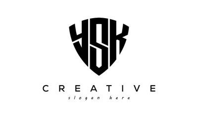 Fototapeta YSK letter creative logo with shield obraz